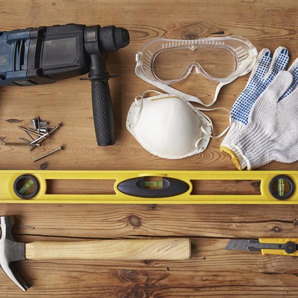 High angle shot of work tools