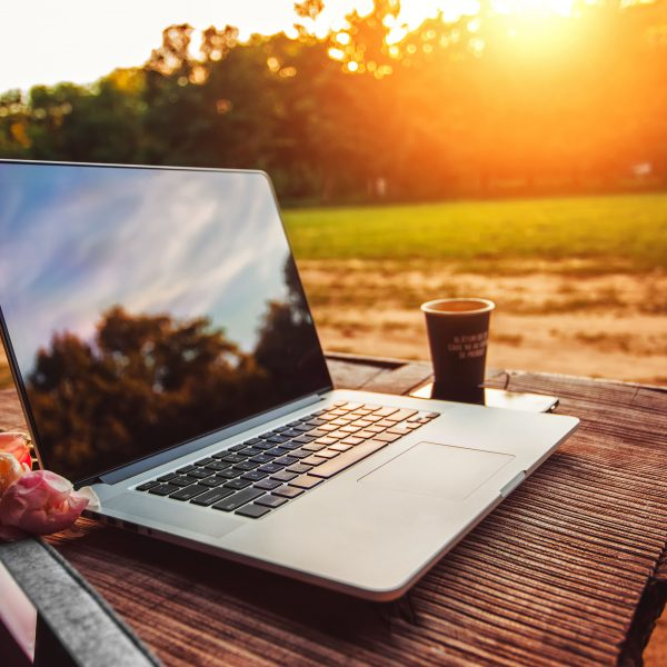 Working Outdoors on Laptop